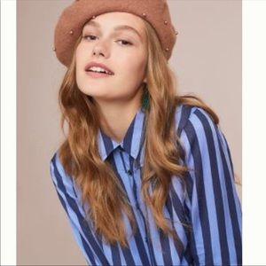 Anthropologie Maeve Vertical Stripe Blue Top